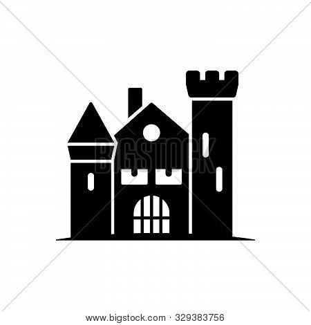 Haunted House Vector Icon. Solid Black Halloween Symbol.