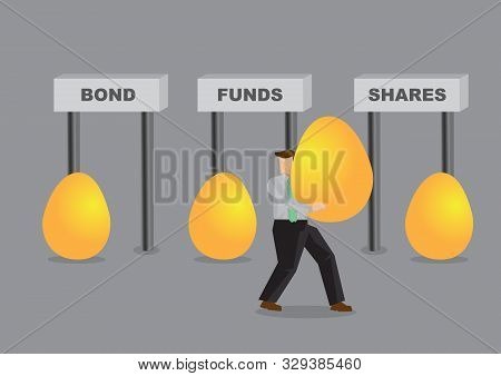 Business Man Deciding How To Diversified His Golden Eggs. Business Asset Diversification Concept. In