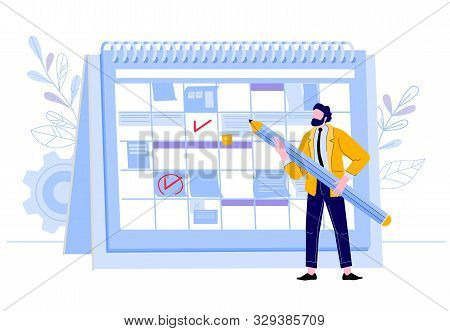 Businessman Check Calendar. Man With Pencil Planning Work Events At Planner, Business Worker Day Pla