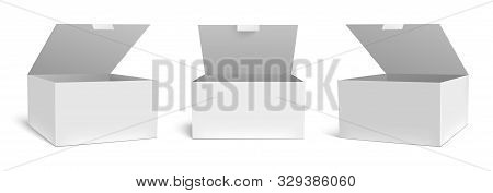 Realistic Open Box Mockup. White Packaging Gift Boxes, Opened Package And Empty Rectangular Packages