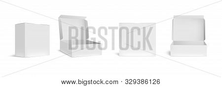 Open And Closed White Box Mockup. Opened Packaging Boxes, Empty Rectangular Package And Realistic Pa