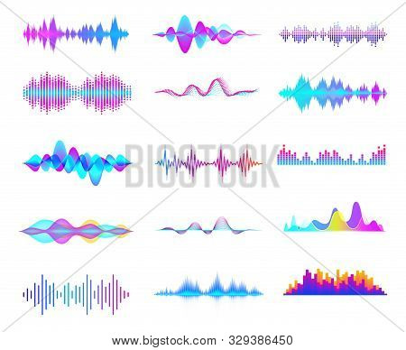 Colorful Sound Waves. Audio Signal Wave, Color Gradient Music Waveforms And Digital Studio Equalizer