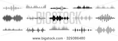 Black Sound Waves. Abstract Music Wave, Radio Signal Frequency And Digital Voice Visualisation. Tune