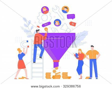 Funnel Sales Analyzing. Lead Generation, Marketing Funnel And Selling Strategy Vector Illustration.