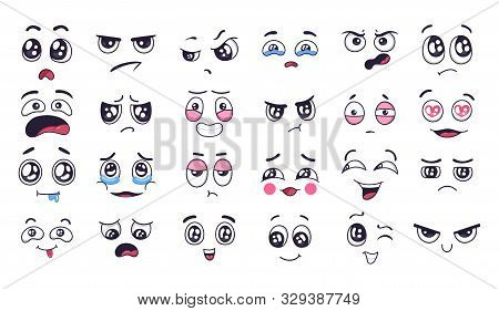 Funny Cartoon Faces. Face Expressions, Happy And Sad Mood. Laughing To Tears Face, Smiling Mouth And