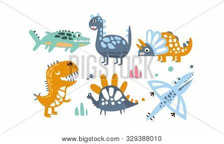 Cute Dinosaurs Set, Adorable Animals Colorful Childish Prints Vector Illustration