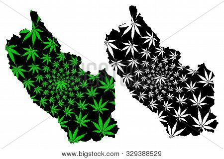 Kanchanaburi Province (kingdom Of Thailand, Siam, Provinces Of Thailand) Map Is Designed Cannabis Le