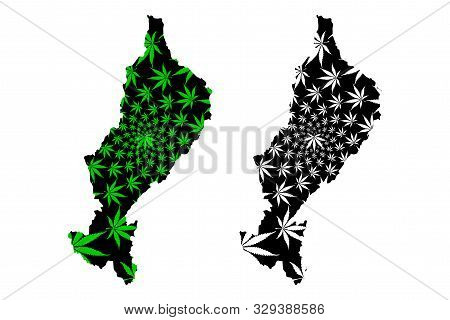 Lampang Province (kingdom Of Thailand, Siam, Provinces Of Thailand) Map Is Designed Cannabis Leaf Gr