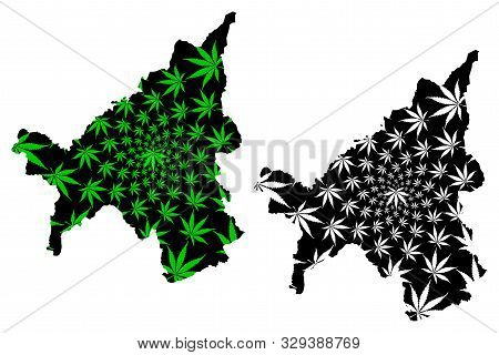 Loei Province (kingdom Of Thailand, Siam, Provinces Of Thailand) Map Is Designed Cannabis Leaf Green