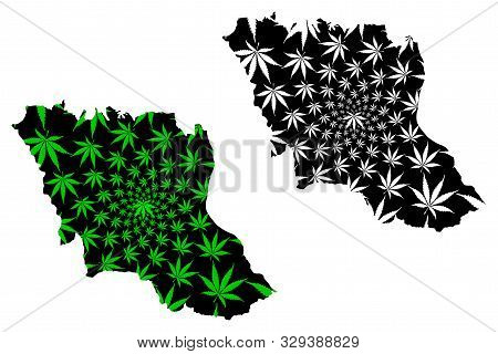 Mukdahan Province (kingdom Of Thailand, Siam, Provinces Of Thailand) Map Is Designed Cannabis Leaf G