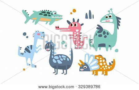 Cute Dinosaurs Set, Adorable Animals Childish Prints Vector Illustration