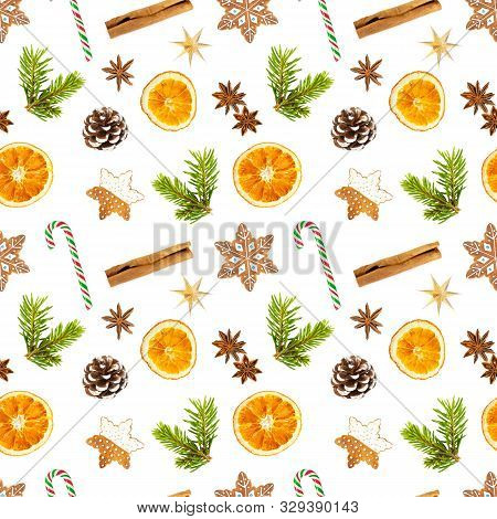 Seamless Pattern With Christmas Gingerbread Cookies In The Shape Of Snowflakes, Dried Oranges, Cinna