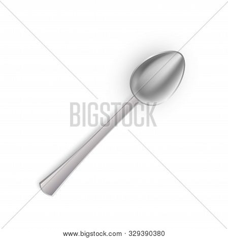 Realistic Silver Spoon Isolated On White Background. 3d Metal Teaspoon, Kitchen Stainless Steel Tabl