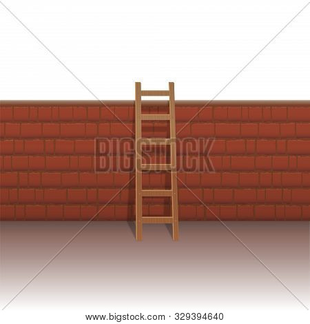 Brick Wall With Ladder To Overcome Obstacles And Hurdles, To Manage Problems, To Escape The Everyday