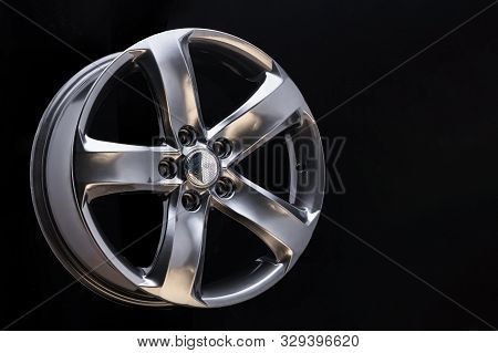 Aluminum Metal Wheel Rim Texture, Beautiful Chrome Gray Asphalt Color Alloy Car Wheel On Black Backg