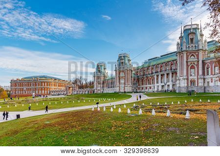 Moscow, Russia - October 16, 2019: View Of Square In Front Of The Grand Palace In Tsaritsyno Park In