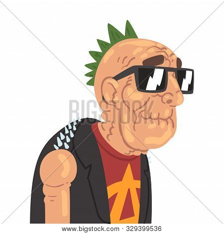 Punk Senior Man Character In Trendy Clothes Vector Illustration
