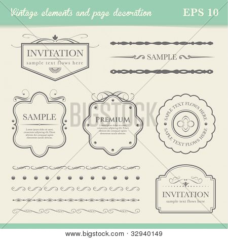 vintage element and page decoration