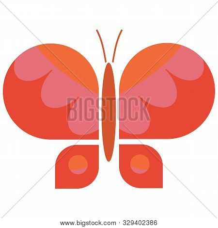 Vintage Orange Geometric Butterfly Vector Illustration. Hand Drawn Garden Insect In Sixties Flat Col