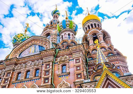 Detail Of Facade Of The Beautiful Church Of The Savior On Blood, St. Petersburg, Russia. Colorful Ri