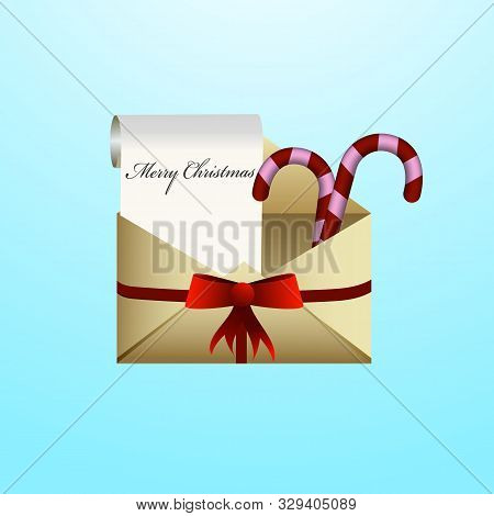 Christmas Theme Envelope. New Year Concept. Vector Illustration