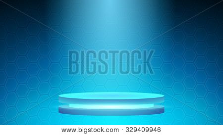 Blue Technology Cyberspace Vector Background,base For Technology Product,futuristic Cyberspace With