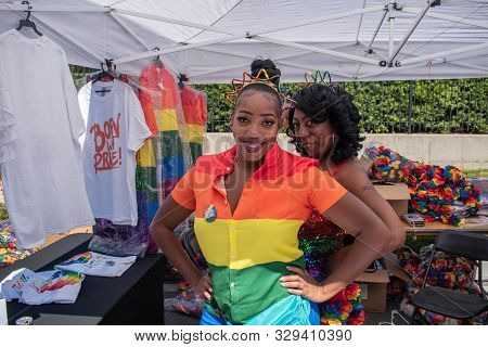 Orlando, Florida. October 12, 2019. Nice Womans In Come Out With Pride Orlando Parade At Lake Eola P