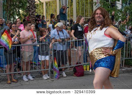 Orlando, Florida. October 12, 2019. Nice Wonder Woman Gay  In Come Out With Pride Orlando Parade At