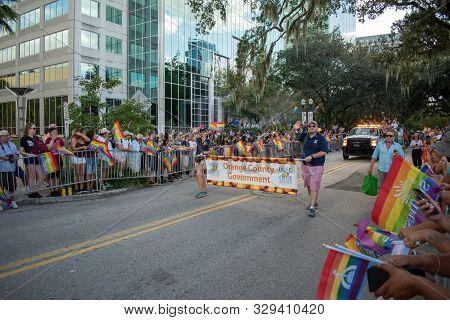 Orlando, Florida. October 12, 2019. Orange County Government Sign In Come Out With Pride Orlando Par
