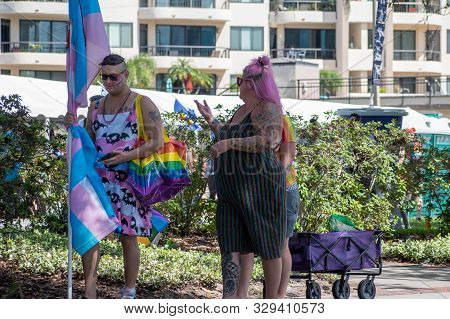 Orlando, Florida. October 12, 2019. People Enjoying Come Out With Pride Orlando Parade The Most Colo