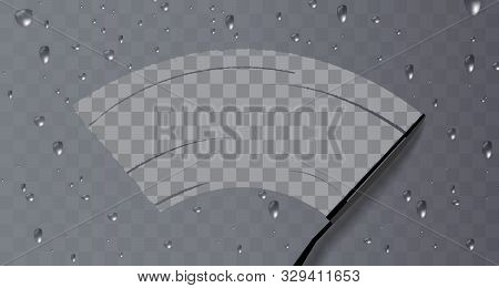 Wiper Cleans The Glass. Rain And Snow On Transparent Background.