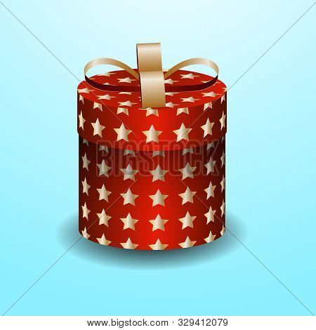 Red Gift Box With Gold Stars And Ribbon On Red Background With Place For Text. Vector Illustration.