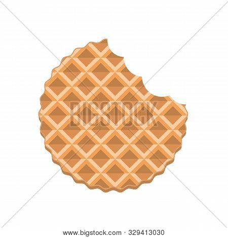 Bitten Cookie Wafer. Wafer Biscuit With Bite Marks. Delicious Food Concept. Vector Stock.