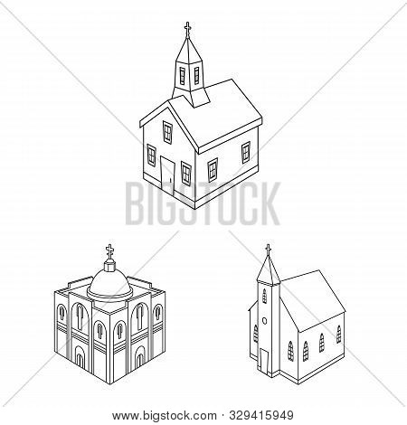 Vector Design Of Architecture And Building Symbol. Collection Of Architecture And Clergy Stock Vecto
