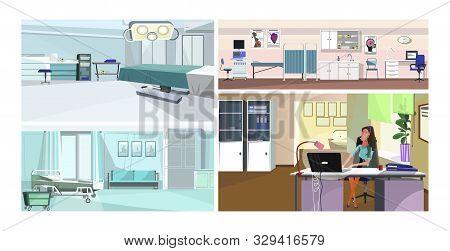 Modern Hospital Interior Vector Illustration Set. Operating Or Surgery, Ultrasound Monitoring, Hospi