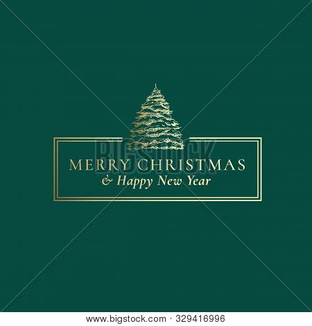 Merry Christmas And Happy New Year Abstract Vector Classy Frame Label, Sign Or Card Template. Hand D