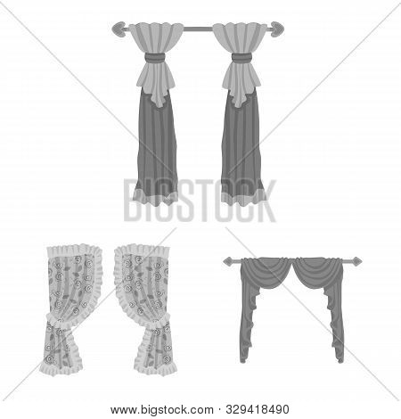 Vector Design Of Interior And Cornice Sign. Set Of Interior And Drapes Stock Symbol For Web.