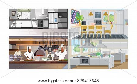 Kitchens Vector Illustration Set. Modern Home Kitchen, Studio With Dining Table, Chief Cooking In Re