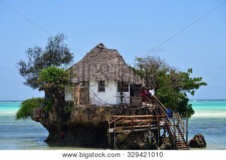 Pingwe, Zanzibar - October 6, 2019: The Rock Restaurant. It Is World-famous Restaurant Known For Its