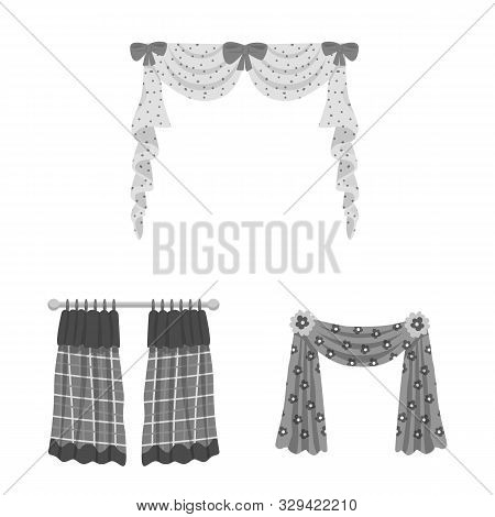 Isolated Object Of Interior And Cornice Logo. Set Of Interior And Drapes Vector Icon For Stock.