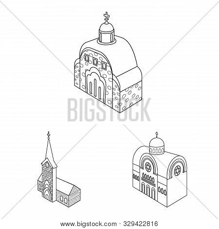 Vector Design Of Architecture And Building Logo. Set Of Architecture And Clergy Vector Icon For Stoc