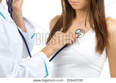 Doctor Woman Auscultating Young Patient