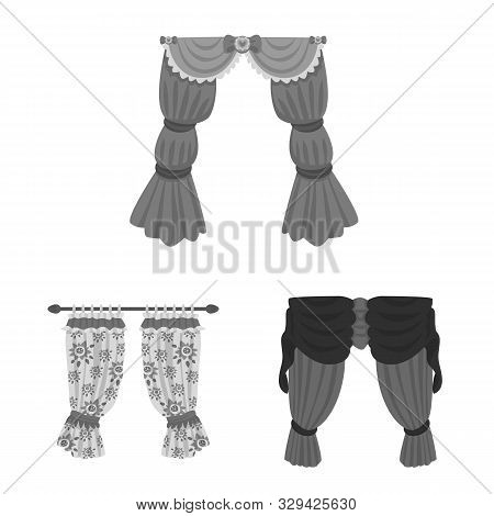 Isolated Object Of Interior And Cornice Symbol. Set Of Interior And Drapes Stock Vector Illustration