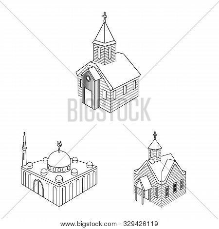 Vector Design Of Architecture And Building Logo. Collection Of Architecture And Clergy Stock Symbol