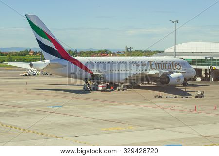 Prague, Czech Republic - April 30, 2018: Airbus A380-800 (a6-edr) Of Emirates Airlines On The Vaclav