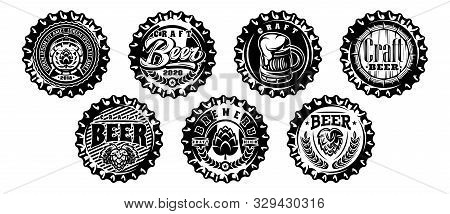 Set Of Vector Monochrome Illustrations With Metal Caps For Beer Bottles.