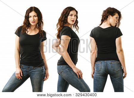 Photo Of A Young Beautiful Redhead Woman With Blank Black Shirt, Front, Side And Back. Ready For You
