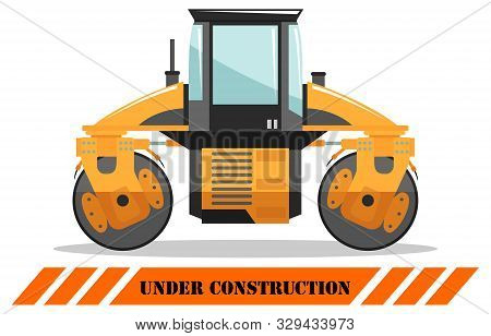 Compactor. Detailed Illustration Of Heavy Construction Machine And Equipment. Vector Illustration.