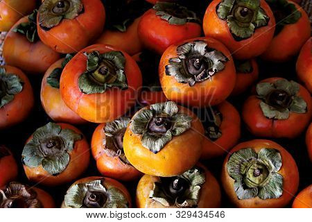 A Pile Of Blemished Persimmons From A Farmer Are Inviting And Tasty.