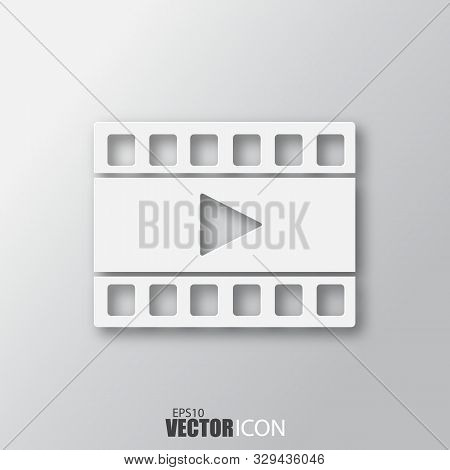 Film Icon In White Style With Shadow Isolated On Grey Background.